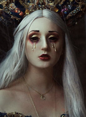 Kirill Sakryukin WOMAN WITH WHITE HAIR CRYING GOLD TEARS Women