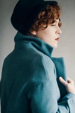 Rekha Garton RETRO WOMAN IN BLUE COAT AND HAT Women