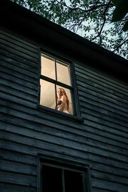 Stephen Carroll WOMAN IN NIGHTDRESS STANDING NEAR WINDOW Women