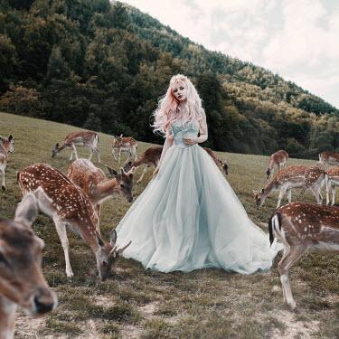 Jovana Rikalo Girl in gown with deers Women