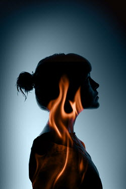 Rekha Garton SILHOUETTE OF WOMAN WITH FLAMES Women