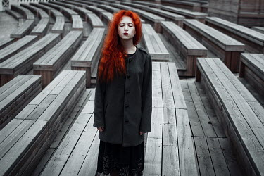 Irina Orwald Redhead girl and wooden benches Children