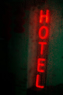 Holly Leedham Hotel sign behind rainy window Miscellaneous Objects