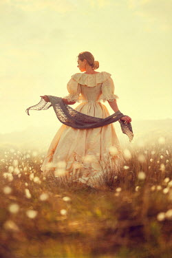 Lee Avison romantic victorian woman with shawl on the moors Women