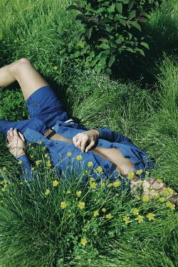 Giovan Battista D'Achille MAN IN SHORTS LYING IN SUMMERY FIELD Men