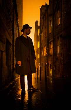 Laurence Winram RETRO MAN SMOKING IN CITY AT NIGHT Men