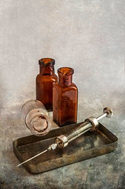 Jaroslaw Blaminsky OLD SYRINGE AND BOTTLES WITH TRAY Miscellaneous Objects