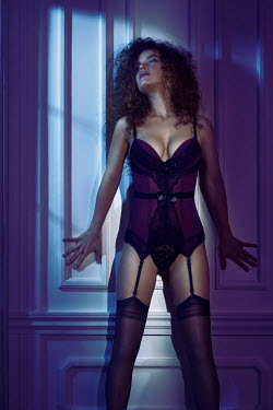 Alex Maxim WOMAN IN LINGERIE AND SUSPENDERS IN SHADOW Women