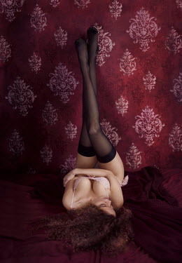 Alex Maxim WOMAN IN STOCKINGS  LYING AGAINST WALL Women
