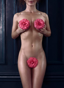 Alex Maxim NUDE WOMAN COVERED WITH PINK FLOWERS Women