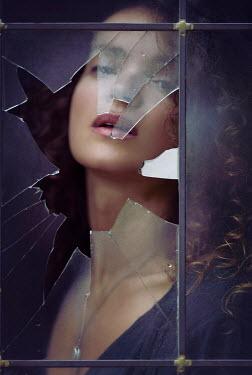 Alex Maxim WOMAN WATCHING BEHIND BROKEN WINDOW Women
