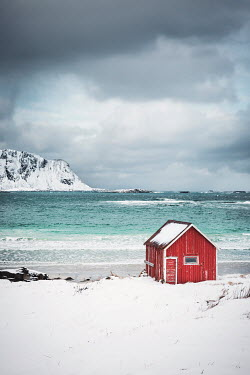 Evelina Kremsdorf HUT ON SNOWY BEACH WITH STORMY SKY Houses