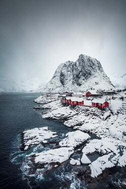 Evelina Kremsdorf VILLAGE BY SEA WITH SNOWY MOUNTAIN Villages