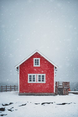 Evelina Kremsdorf SMALL RED WOODEN HOUSE IN SNOW Houses