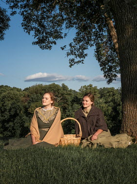 Elisabeth Ansley TWO HISTORICAL WOMEN SITTING IN COUNTRYSIDE Women