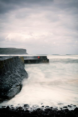 David Baker FOAMY SEA WITH HARBOUR WALL Seascapes/Beaches