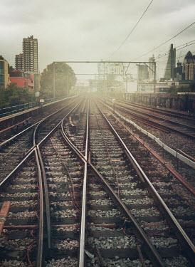 Mark Owen EMPTY RAILWAY TRACKS INTO LONDON Railways/Trains