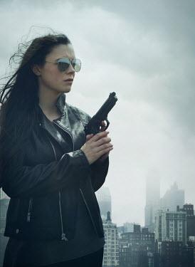 Mark Owen WOMAN IN SUNGLASSES WITH GUN IN CITY Women