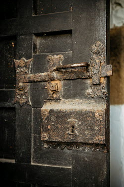 Shelley Richmond CLOSE UP OF OLD DOOR WITH LATCH AND LOCK Building Detail