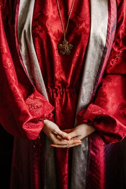 Shelley Richmond WOMAN IN RED ROBES WITH NECKLACE Women