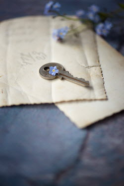 Galya Ivanova KEY ON NOTE WITH BLUE FLOWERS Miscellaneous Objects