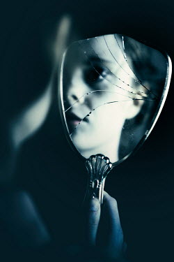 Magdalena Russocka vintage woman reflected in cracked mirror Women