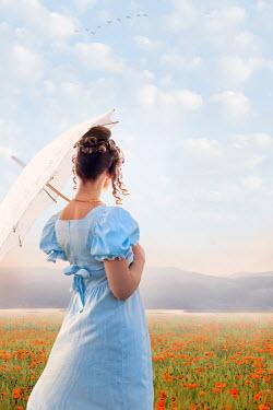 Lee Avison regency woman in poppy field Women