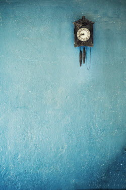 Svetoslava Madarova cuckoo clock on the blue wall