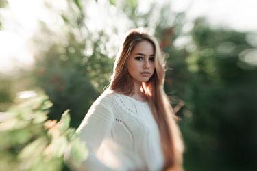 Alexander Kuzovkov Girl and unfocused green background Women