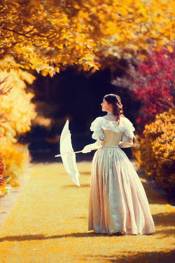 Lee Avison victorian woman in an autumn garden Women