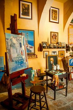 Michael Trevillion paintings in art studio Interiors/Rooms