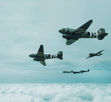 CollaborationJS AMERICAN WW2 AIRCRAFT ABOVE CLOUD Miscellaneous Transport