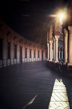 Evelina Kremsdorf EMPTY COLONNADE WITH PILLARS IN SUNLIGHT Miscellaneous Buildings