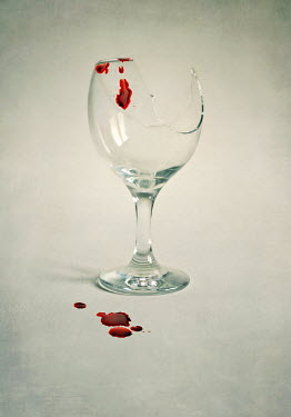 Lyn Randle BROKEN WINE GLASS WITH BLOODSTAINS Miscellaneous Objects