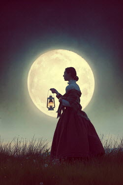 Lee Avison victorian woman with lantern and full moon