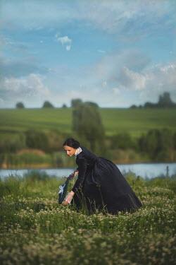 Joanna Czogala VICTORIAN WOMAN PICKING FLOWERS Women