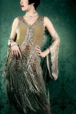 ILINA SIMEONOVA SERIOUS 1930S WOMAN IN BEADED DRESS Women