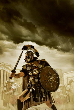 CollaborationJS Roman centurion soldiers fighting under stormy sky Men