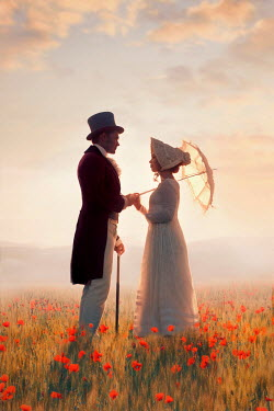 Lee Avison regency couple in a poppy meadow at sunset