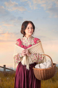 Lee Avison victorian woman with shawl and basket