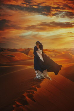 Terrence Drysdale HISTORICAL WOMAN WALKING ON SAND DUNES Women