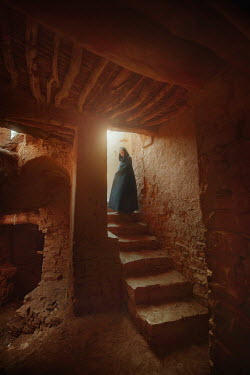 Terrence Drysdale WOMAN IN ROBES STANDING ON STEPS Women