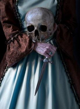 Jaroslaw Blaminsky HISTORICAL WOMAN HOLDING KNIFE AND SKULL Women