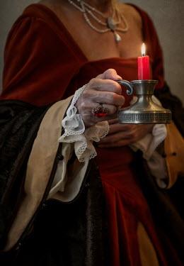 Jaroslaw Blaminsky HISTORICAL WOMAN HOLDING CANDLE HOLDER Women