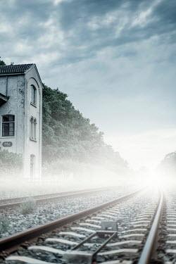 Ysbrand Cosijn MISTY RURAL RAILWAY TRACK IN SUMMER Railways/Trains
