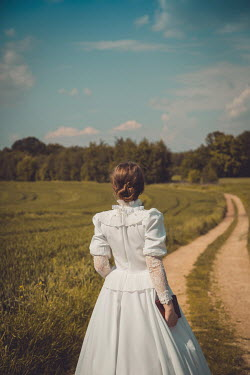 Joanna Czogala HISTORICAL WOMAN IN WHITE ON COUNTRY LANE Women