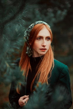 Nathalie Seiferth WOMAN WITH RED HAIR AND GREEN SCARF IN FOREST Women