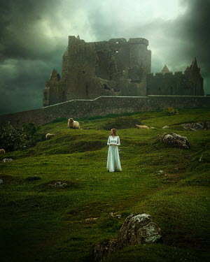 Terrence Drysdale WOMAN AND SHEEP BY RUINED CASTLE Women