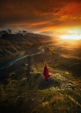 Terrence Drysdale HISTORICAL WOMAN ON MOUNTAIN AT SUNSET Women