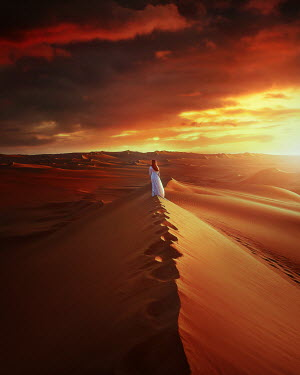 Terrence Drysdale WOMAN ON SAND DUNE AT SUNSET Women